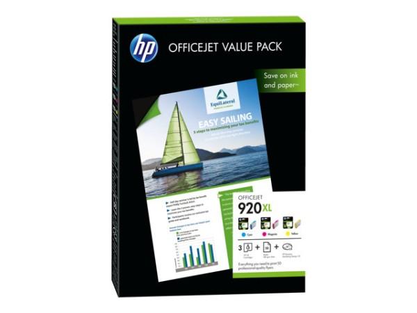 Orig. Tintenpatrone HP CH081AE Nr. 920XL Value Pack C/M/Y + 50 Blatt A4 Papier