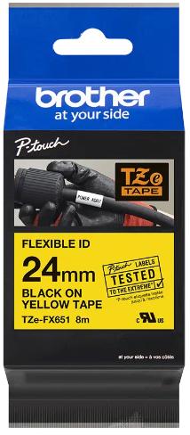 orig. Brother TZeFX651/TZe-FX651 Schriftbandkassette, 24 mm schwarz/gelb Flexi-Tape