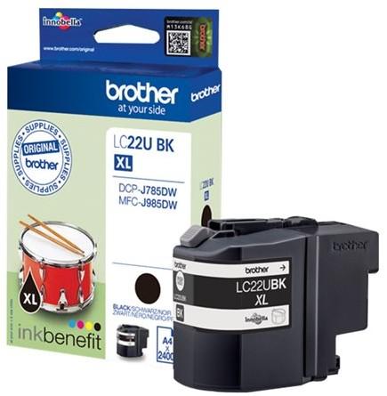orig. Brother Tintenpatrone LC-22UBK black/schwarz, ca. 2400 Seiten
