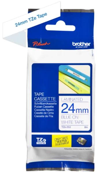 orig. Brother TZe253/TZe-253 Schriftbandkassette 24mm weiß/blau