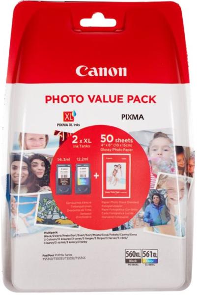 orig. Tintenpatrone Canon PG-560XL/CL-561XL Multipack Black/Schwarz/Color/Farbe