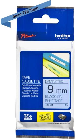 orig. Brother TZe521/TZe-521 Schriftbandkassette 9mm schwarz/blau