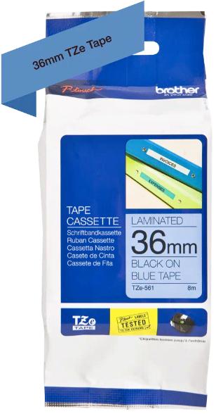 orig. Brother TZe561/TZe-561 Schriftbandkassette, 36mm schwarz/blau