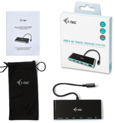 I-TEC USB C 4K Travel Docking Station Power Delivery 1x HDMI 1x GLAN 2x USB 3.0 1x USB Type-C 1x