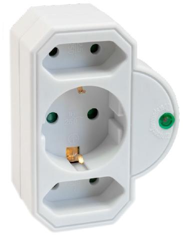Netzadapter mit Überspannschutz TZU00505 weiss 1x Schutzkontakt + 2x Euro Ü-Schutz Kindersicherung