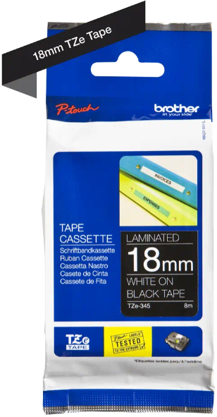 orig. Brother TZe345/TZe-345 Schriftbandkassette 18mm schwarz/weiß
