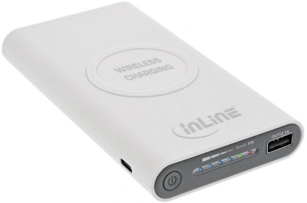 InLine Qi-Plate Powerbank, 8000 mAh, weiss, 2,1 A