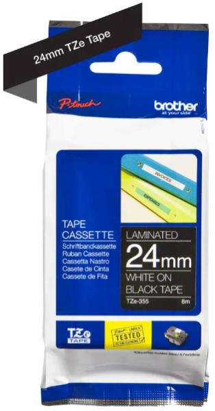 orig. Brother TZe355/TZe-355 Schriftbandkassette 24mm schwarz/weiß