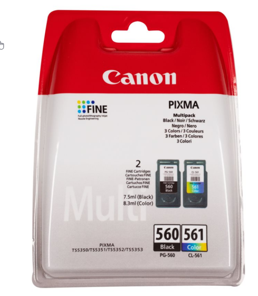 orig. Tintenpatrone Canon PG-560/CL-561 Multipack Black/Schwarz/Color/Farbe