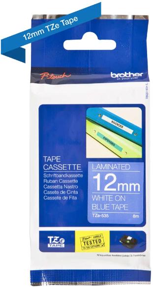 orig. Brother TZe535/TZe-535 Schriftbandkassette, 12mm Weiss/blau