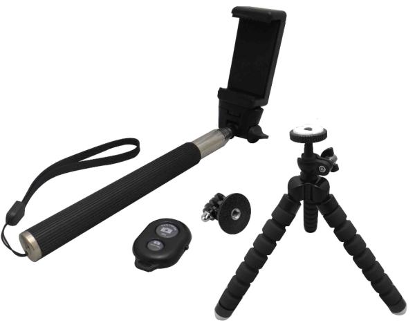 Ultron Selfie Kit Zubehör Set mit Teleskoparm, Smartphone-Halterung