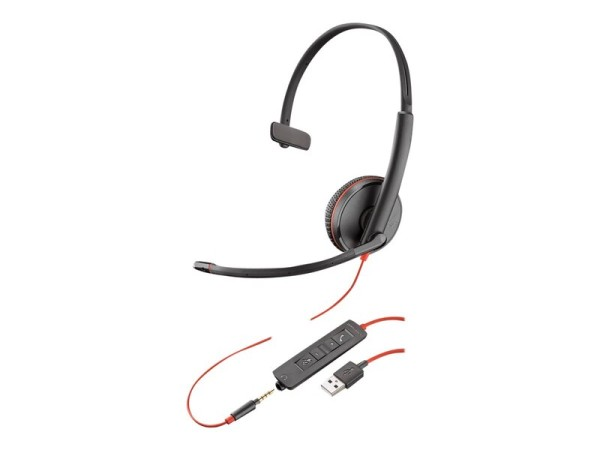 Poly Plantronics Blackwire C3215 Kabel Kopfbügel Mono Headset - Schwarz - Ohraufliegend - 20 Hz bis