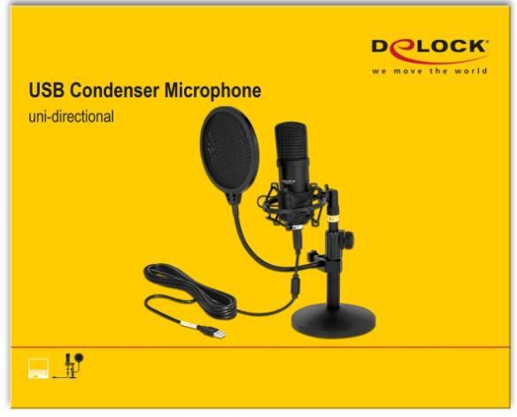 DELOCK Professionelles USB Kondensator Mikrofon Set für Podcasting und Gaming schwarz