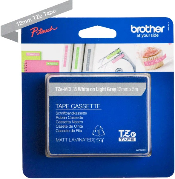 orig. Brother TZeMQL35/TZe-MQL35 Schriftbandkassette 12mm weiss/hellgrau