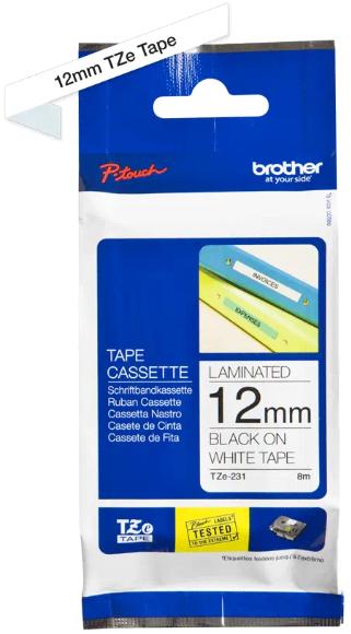 orig. Brother TZE-231 Schriftbandkassette 12mm weiß/schwarz