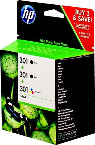Orig. Tintenpatrone HP N9J72AE Nr.301 3er pack Black/Color CH561EE/CH562EE