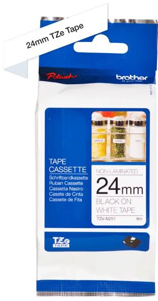orig. Brother TZeN251/TZe-N251 Schriftbandkassette 24 mm weiß/schwarz nicht Laminiert