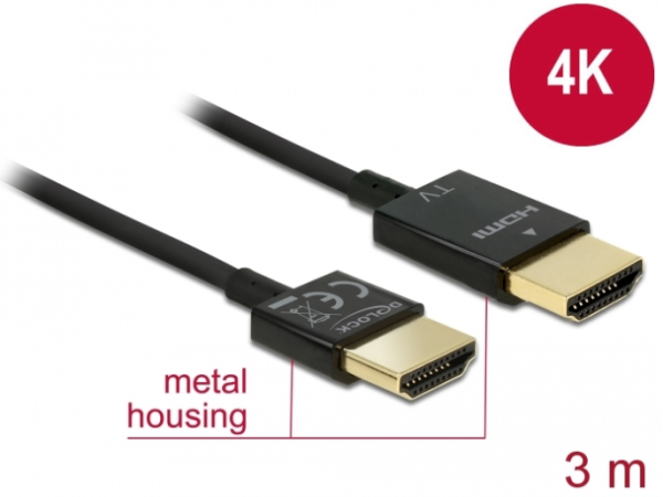 Delock Kabel High Speed HDMI mit Ethernet - HDMI-A Stecker > HDMI-A Stecker 3D 4K 3 m Slim
