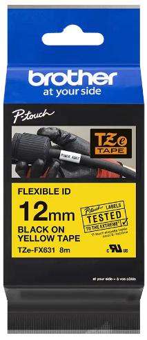 orig. Brother TZeFX631/TZe-FX631 Schriftbandkassette, 12 mm schwarz/gelb Flexi-Tape