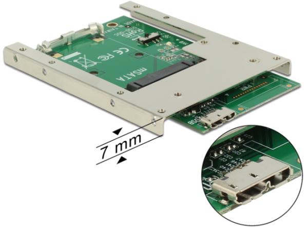 "Delock Converter USB 3.0 zu mSATA 2,5"" Low Profil Slotblech 62468"