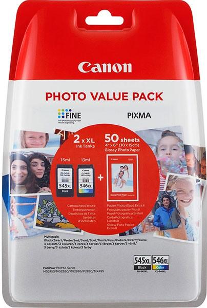orig. Tintenpatrone Canon PG-545XL/CL-546XL Vorteilspack Blister 4x6 Foto Papier GP-501 50 Blatt
