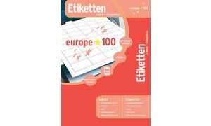 europe 100 Inkjet-,Laser&Kopier-Etiketten,105x74