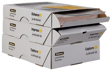 Fellowes Laminierfolientasche, DIN A4, 160 mic, Value Pack2 x 80 mic, glänzend, im Karton 250 Stk