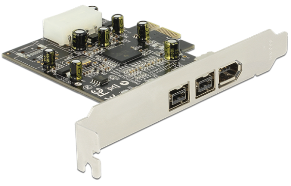 Delock PCI Express Karte > 2 x extern FireWire B + 1 x extern FireWire A