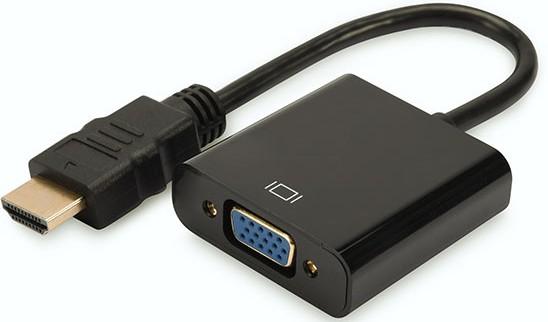 DIGITUS Konverter HDMI auf VGA HDMI A Stecker auf VGA Buchse 3,5mm Audio Buchse schwarz DA-70461