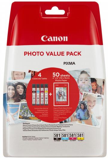orig. Tintenpatrone Canon CLI-581 Multi C/M/Y/BK + 50 Blatt PP-201 4x5,6 ml für ca. 250 Seiten