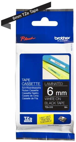 orig. Brother TZe315/TZe-315 Schriftbandkassette 6mm schwarz/weiß