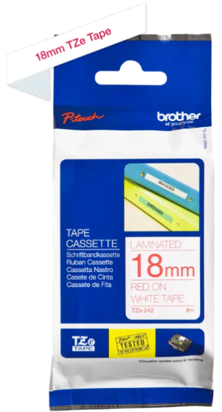 orig. Brother TZe242/TZe-242 Schriftbandkassette 18mm weiß/rot
