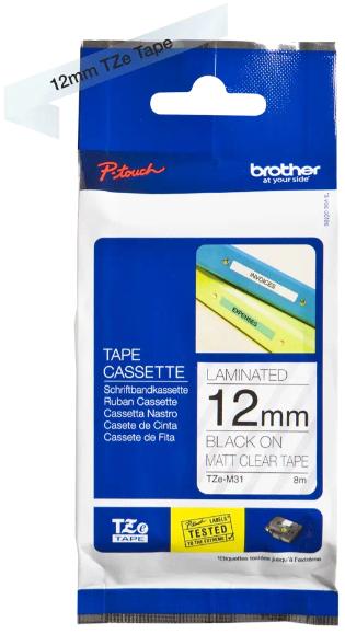 orig. Brother TZeM31/TZe-M31 Schriftbandkassette 12mm schwarz/transparent