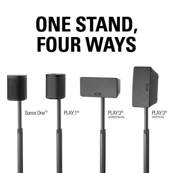 Sanus WSSA1-B2 - Standfuß Sonos ONE,PLAY:1, PLAY:3 höhenverstellbar schwarz