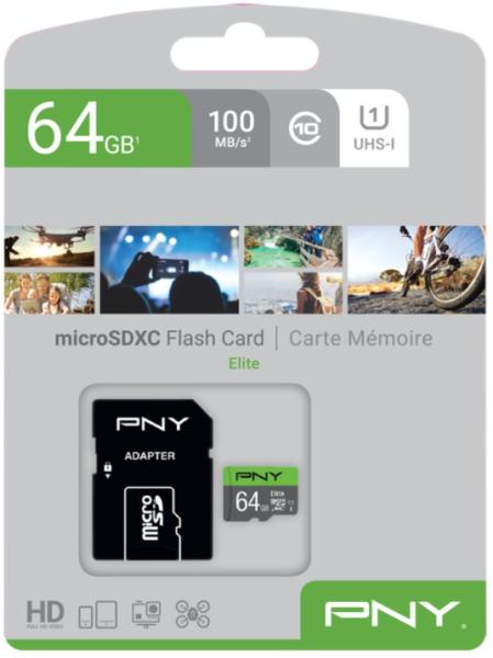 PNY Micro SD Card Elite 64 GB Class 10 UHSI U1 A1 SD adapter
