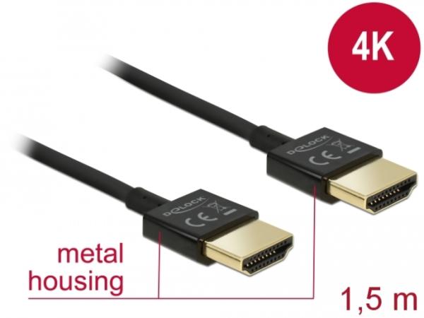 Delock Kabel High Speed HDMI mit Ethernet - HDMI-A Stecker > HDMI-A Stecker 3D 4K 1,5 m Slim