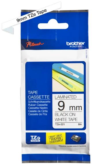 orig. Brother TZE-221 Schriftbandkassette weiß/schwarz
