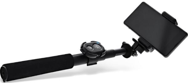 InLine® Selfie Stick / Mini Handy Stativ, Bluetooth Funkauslöser, Teleskop, schwarz, Aluminium, 0,75