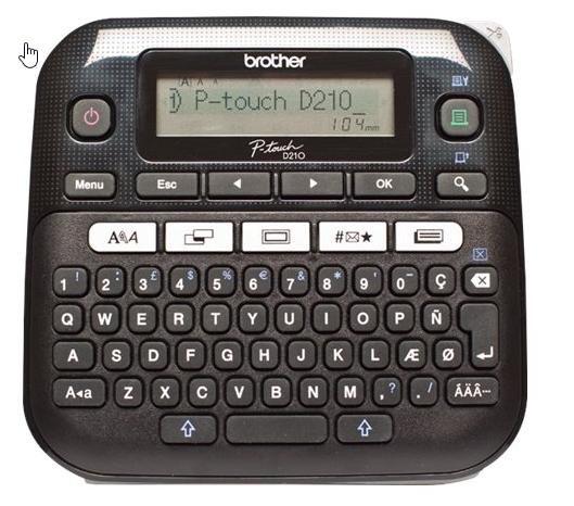 Brother P-Touch PT-D210 - Beschriftungsgerät - s/w - Thermotransfer - inkl. Hartschalenhülle + Netzt