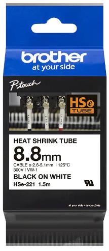 orig. Brother HSe221/HSe-221 Schrumpfschlauch 8.8 mm schwarz/weiss