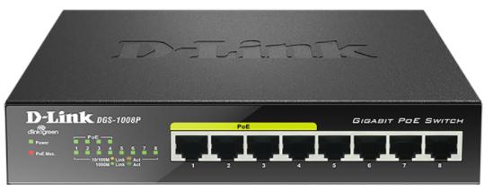 D-LINK 8-Port Layer2 PoE Gigabit Switch - 15,4W Kapazität