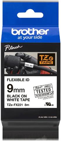 orig. Brother TZeFX221/TZe-FX221 Schriftbandkassette, 9 mm schwarz/weiß Flexi-Tape