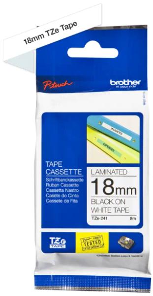 orig. Brother TZE-241 Schriftbandkassette, weiß/schwarz