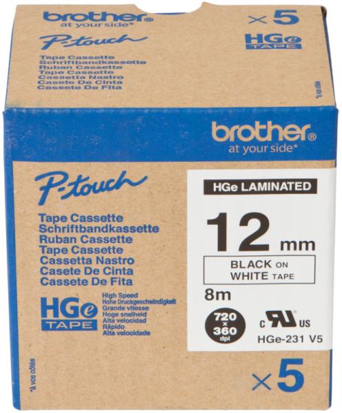 orig. Brother HGe231/HGe-231 Schriftbandkassette, 12 mm schwarz/weiss High-Grade laminiert 5er Multi