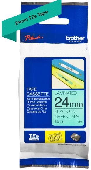 orig. Brother TZe751/TZe-751 Schriftbandkassette, 24mm schwarz/grün
