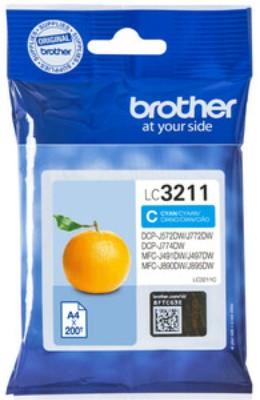 orig. Brother Tintenpatrone LC-3211C Cyan/Blau, ca. 200 Seiten