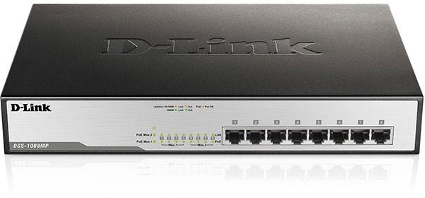 D-LINK DGS-1008MP 8‑Port Desktop Gigabit Max PoE Switch 140W PoE Kapazität Plug & Play lüfterlos Met