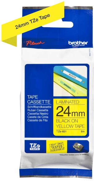 orig. Brother TZE-651 Schriftbandkassette, gelb/schwarz