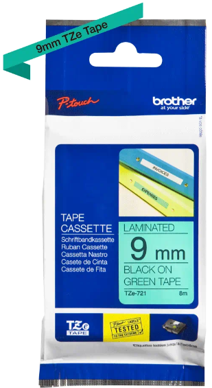 orig. Brother TZe721/TZe-721 Schriftbandkassette 9mm schwarz/grün