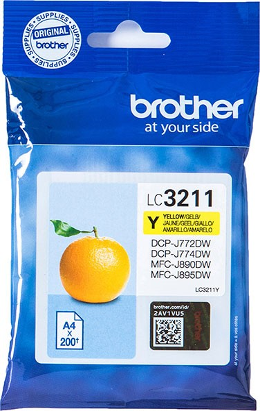 orig. Brother Tintenpatrone LC-3211Y Yellow/Gelb, ca. 200 Seiten